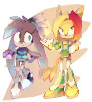 COMM:HIKARI The Echidna and KETRIN The Cat by QuiickyFoxy