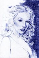 Christina Aguilera BALLPOINT PEN Wip1 by AngelinaBenedetti