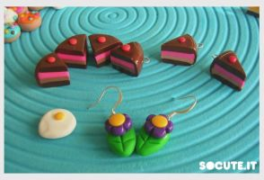 Fimo flowers and cake slice by yen-hm