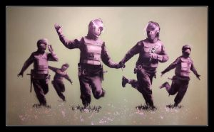 Riot police in the field by Banksy by FarArden