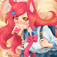 Academy Ahri and her anime toast by Flipflopfunz