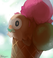 Rowlet - Strawberry, Pistachio and... chocolate? by Nekoeri