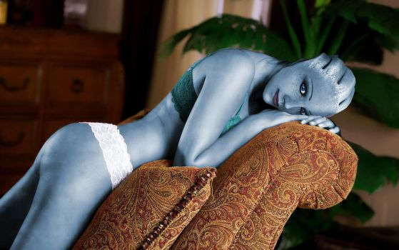 Liara T'soni getting some rest by RenderEffect-Dan