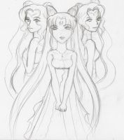 Elysion Maenads and Chibi Usa by hoshi-kou