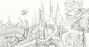 Cybertronian Cityscape WIP by skydive1588