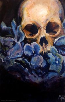 Skull with Blue Flowers by ihazart