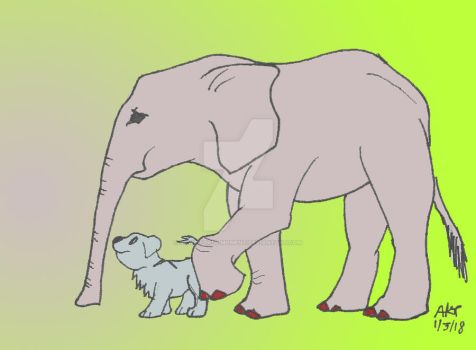Elephant n Dog Color by Paws-for-a-Moment