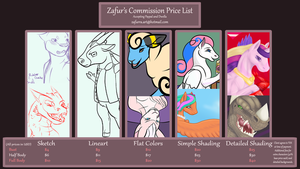 Commission Price Sheet by Zafurra