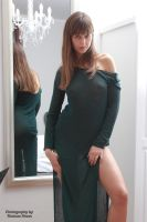 Emelie in green dress 2 by PhotographyThomasKru