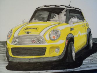 Mini Cooper Marker Drawing by prestonthecarartist