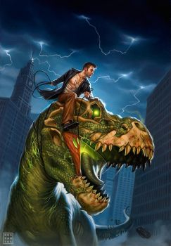Harry Dresden and Sue, the T-Rex by DSillustration