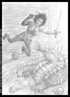 Midda vs a hippocamp: pencil version from Book I by middaschronicles