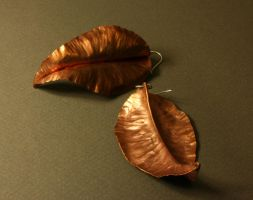 Copper Leaf Earrings by Anomiranda