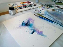 A quick watercolor painting by leamatte