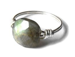 Sterling Silver wire ring with labradorite by JLHilton