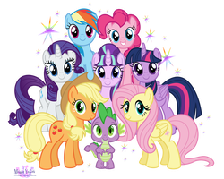 The Mane 7 and Spike by MeganLovesAngryBirds