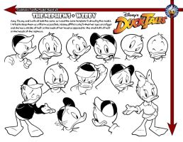 Huey, Dewey, Louie + Webby Model Sheet by jongraywb