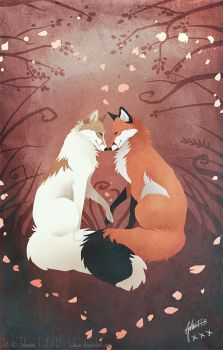 Valentine's Foxes by Lhuin