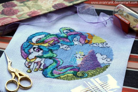 [OPEN] My Little Pony Celestia Cross Stitch by EvanRank