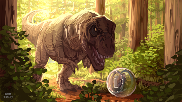 Took a Wrong Turn into the T.Rex Kingdom by ArtByRiana