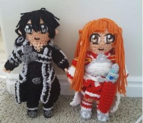 Crochet Asuna and Kirito (Sword Art Online) chibi! by Maw1227