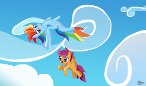 Dash and scoots flying by Ailynd