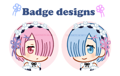 Rem and Ram badge designs by Kata-elf