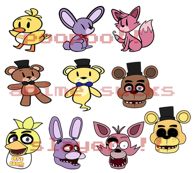 FNAF stickers! by DuckyDeathly