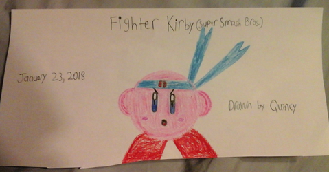My drawing of Super Smash Bros. Fighter Kirby by quincyjazimar13