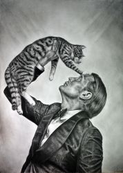 Mads Mikkelsen/Cat by Alone-LostInParadise