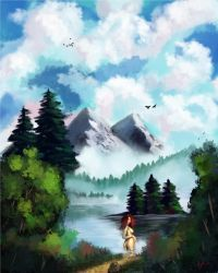 Bob Ross Nature Lake, mountain by discipleneil777