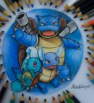 Water Team  Squirtle ~ Wartotle ~ Blastoise by AlexiaRodrigues
