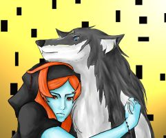 Midna and Wolf Link by KeniChan