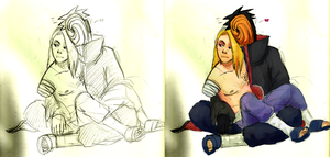 Naruto - TobiDei before and after by gensing