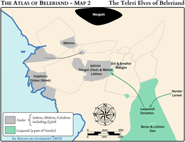 The Atlas of Beleriand - Map 2 by Airyyn