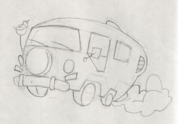 The Ure's Bus Towing Sketch 01 by doncroswhite