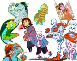 Undertale sketches by Sophie-Dragon