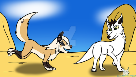 Art Trade - Puppy Lila and Lorek by KizunaDragonWolf