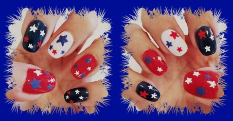 4th of July Nails by MikariStar