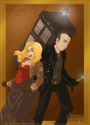 Commission - Steampunk 9 and Rose Tyler by shinga