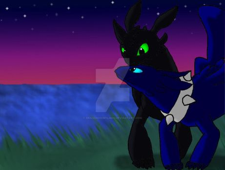 Toothless' And Nightshade's First Date (Redo) by DragonDogFilmsG