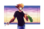 A wolf singing into a leek by N-o-x-y