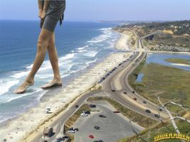 Giantess Katherina at the ocean by lowerrider