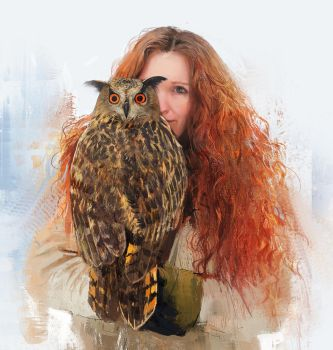 Portrait with Owl by BellaBergolts