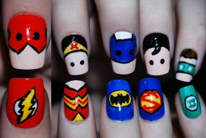 Justice League Nail Art by Maynesss