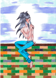 Bakura sittin' on a wall lickin' his knife by Ria-Pia