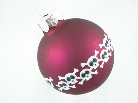 Red Skully Bomb Glass Ornament by angelyques
