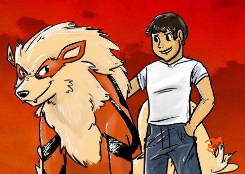 A Boy and his Arcanine. by Juicey-Orange