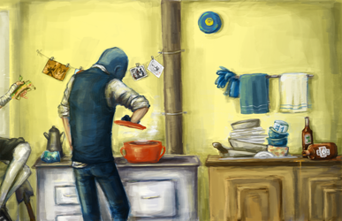 In the kitchen. by ClockworkNightmare