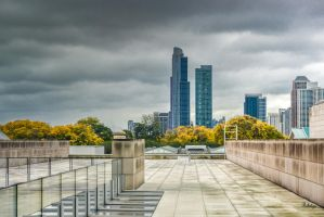 Chicago buildings under clouds by Rikitza